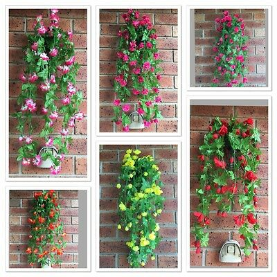 2 Artificial Fake Garden Hanging Flower Plant Home Wedding Decor