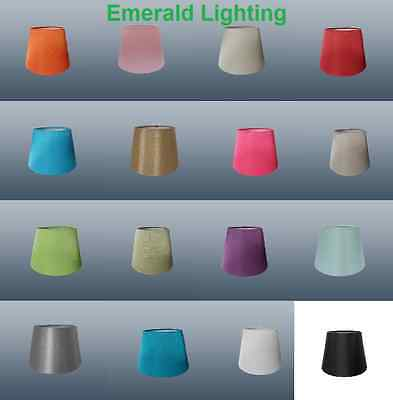 """6"""" Candle CLIP ON Silk Look Fabric Lampshade Or Wall Light Shade LOTS of Colours"""