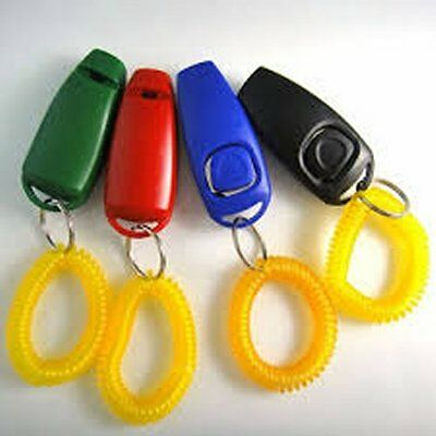 Dog Clicker & Whistle In One Plus Wrist Band - Obedience - Tool - Training - Dog