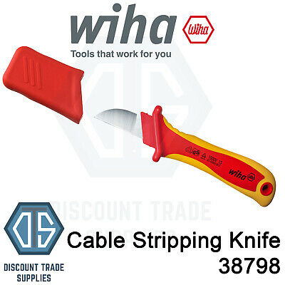 Wiha Cable Stripping Knife VDE 38798 200mm Insulated Professional Non Rust Steel