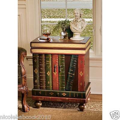 "28"" LORD BYRON ACCENT SIDE TABLE W/  trompe l'oeil DOUBLE DOORS OPEN PULL 48 LBS"