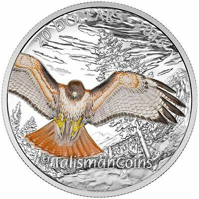 Canada 2016 Majestic Iconic Animals Regal Red Tailed Hawk $20 Silver Proof Color