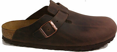 BIRKENSTOCK 0860133 BOSTON HABANNA Brown leather Narrow footbed NEW