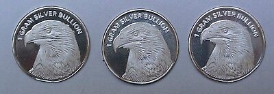 LOT OF 3 - 1 GRAM SILVER BULLION - American Eagle and Statue of Liberty