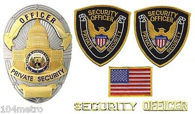 Obsolete Gold Silver Private Security Officer Oval Shield Badge Bundle Package