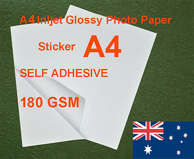 25 sheets A4 180GSM Inkjet / Laser Glossy Photo Paper Sticker Adhesive