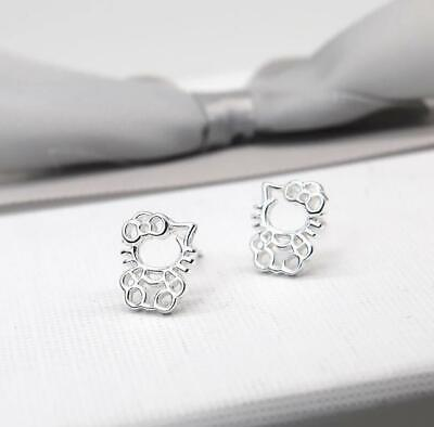 Super Adorable Tiny *Hello Kitty* Cat Kitten 925 Sterling Silver Stud Earring
