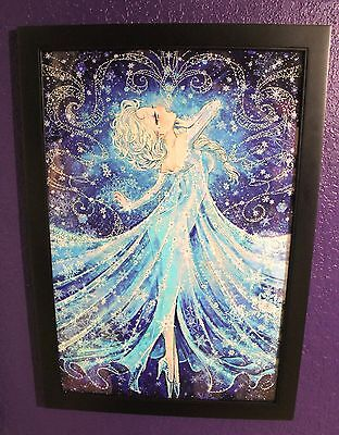 Sparkly disney frozen princess elsa swarovski snowflakes framed wallart decor