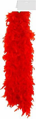 Red Fancy Dress Feather Boa  Burlesque Hen Night Dance Soft