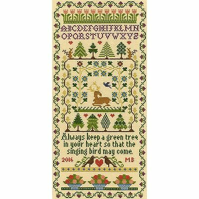 BOTHY THREADS GREEN TREE HISTORICAL SAMPLER CROSS STITCH KIT by MOIRA BLACKBURN