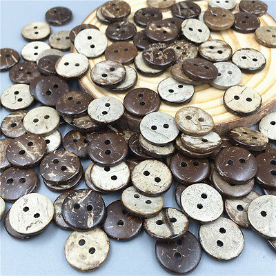 100pcs Coconut Wooden Buttons Sewing Scrapbooking Crafts Decorations 13mm