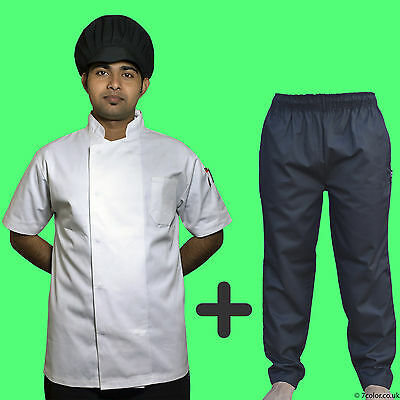 Chef White Jacket and Black Trousers Kitchen Uniforms Polly Cotton Clothing.
