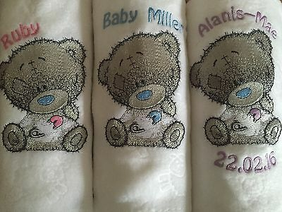 Personalised Embroidered Baby Tatty Grey Teddy Bear White Fleece Blanket Gift