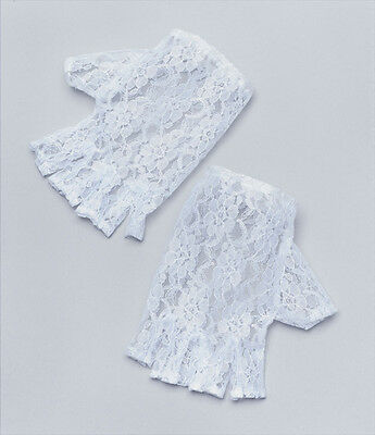Adult Ladies White Lace Short Fingerless Gloves Madonna Lady 1980's  Fancy Dress