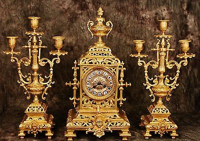Gorgeous French Antique Set Gilt Solid Heavy Bronze Clock Candelabras 19Th C