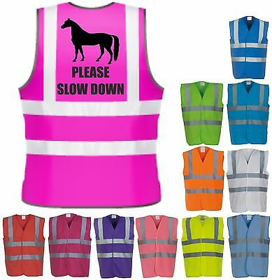 Please Slow Horse Riding Hi-Vis Visibility Safety Vest Equestrian Waistcoat