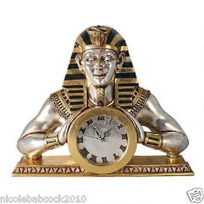 Egyptian Temple of Heliopolis heavy wall mantle sculptural clock - 16 lbs