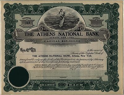 Athens National bank Stock Certificate New York Unissued