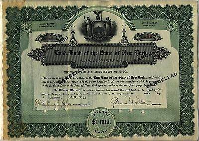Land Bank of the State of New York Stock Certificate