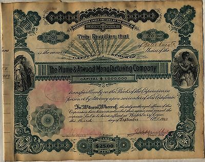 Plume & Atwood Manufacturing Company Stock Certificate Connecticut