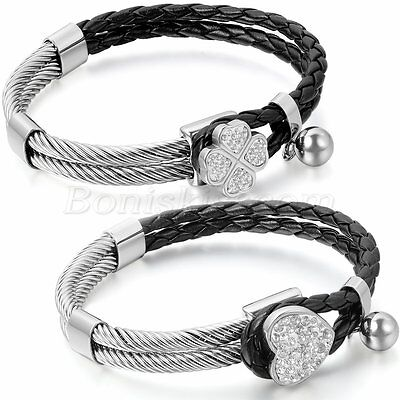 Women's Stainless Steel Leather Bracelet Charm Heart Lucky Clover Cuff Bangle