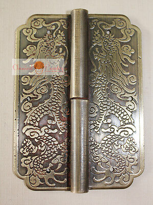 4 Hinge Chinese Furniture Brass Hardware Trunk Cabinet Door Copper Dragon 3.15""