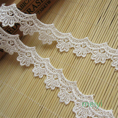 3 yd Vintage Embroidered Lace Edge Trim Wedding Ribbon Applique DIY Sewing Craft