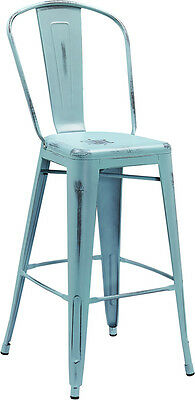 Flash Furniture 30'' High Distressed Dream Blue Metal Indoor Barstool with Back