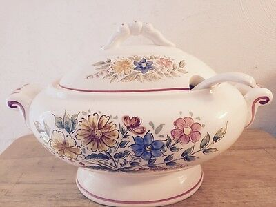 Large SOUP TUREEN With Ladle MADE In Japan VINTAGE White Flowered
