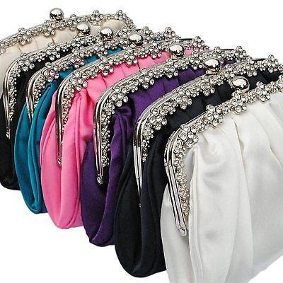 Satin Diamante Clutch Bag Ivory Navy Blue Teal Nude Pink Black Purple Silver New