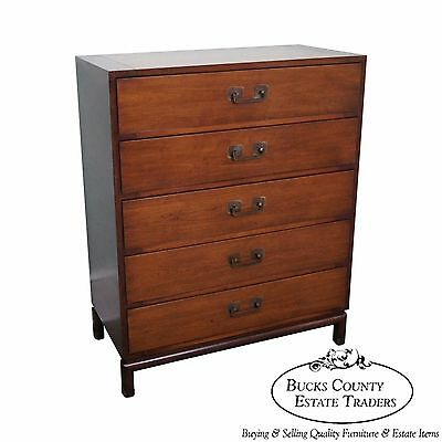 Johnson Furniture Paul Frankl Mid Century Asian Inspired Tall Chest