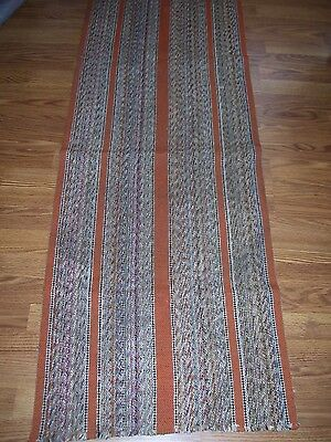 Vintage Woven Loom Rag Rug Mid Century 62 x 23 Multicolored with Orange Stripe