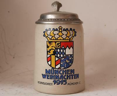 Antique German Military Beer Stein WWI Christmas Reserve Hospital Munich c.1915