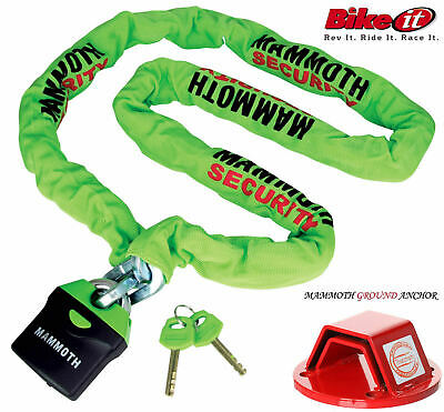 Mammoth Thatcham Motorcycle Ground Anchor+Mammoth Locm009 180 Chain Lock New2016