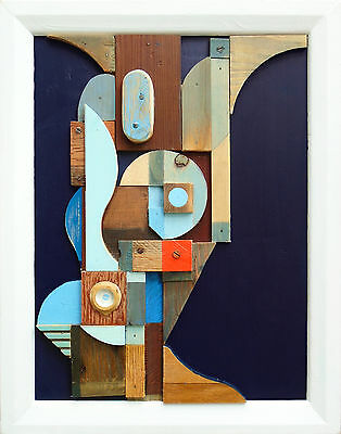 abstract contemporary collage cubist modern original relief sculpture