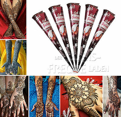 5x Golecha Arabe Henné Cône 100% Naturel Á 25g - Mehendi Tatoo Clinique Testé