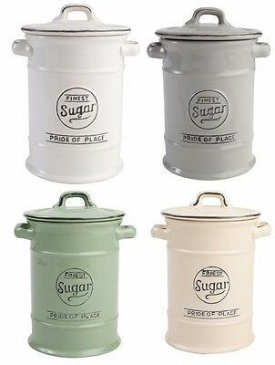 TG Pride Of Place Sugar Storage Jar Canister Cool Grey White Old Green Old Cream
