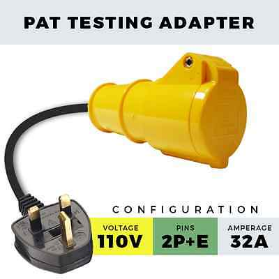 110V 32A Yellow Pat Testing Adapter 13A Plug To 32A Socket 110V Appliance Lead