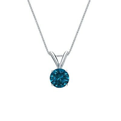 """1.50 Ct Round Cut Blue Solid 14k White Gold Solitaire Pendant 18"""" Necklace"""