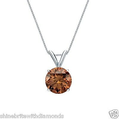 """3 Ct Round Cut Brown Solid 14k White Gold Solitaire Pendant 18"""" Necklace"""