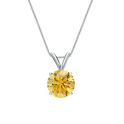 "3 Ct Round Canary Yellow Solid 14k White Gold Solitaire Pendant 18"" Necklace"