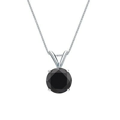 """2.25 Ct Round Cut Black Solid 14k White Gold Solitaire Pendant 18"""" Necklace"""