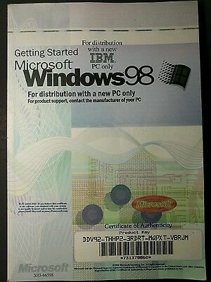 Vintage Microsoft Windows 98 Booklet with OEM Certificate of Authenticity