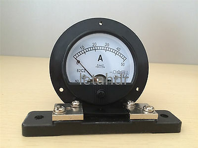 New 62C2 Round Analog Amp & Volt Panel Meter DC 0~20V DC 0-50A With/(Out) Shunt