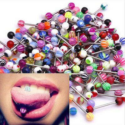 10Pcs 14G Tongue Tounge Nipple Ear Rings BARS BARBELL BODY PIERCING JEWELRY