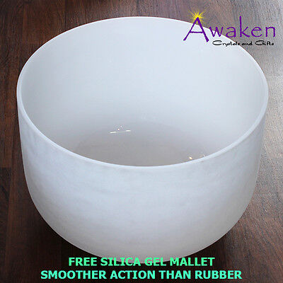 "Quartz CRYSTAL SINGING BOWL 16"" (40cm) Frosted, plus Mallet and O-Ring"