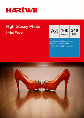 100 Sheets A4 230Gsm High Glossy Photo Paper Inkjet Paper Printing Hartwii AU