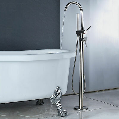 Chrome Bathroom Tub Faucet Free Standing Floor Mount Tub Filler W/ Hand Sprayer