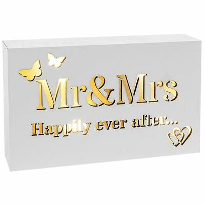 Shudehill Giftware Mr & Mrs Happily Ever After Block Art Sign with LED Lights