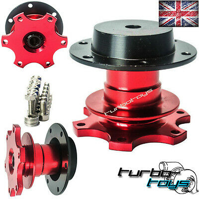 RED QUICK RELEASE SNAP OFF STEERING WHEEL HUB BOSS KIT fit MOMO SPARCO OMP